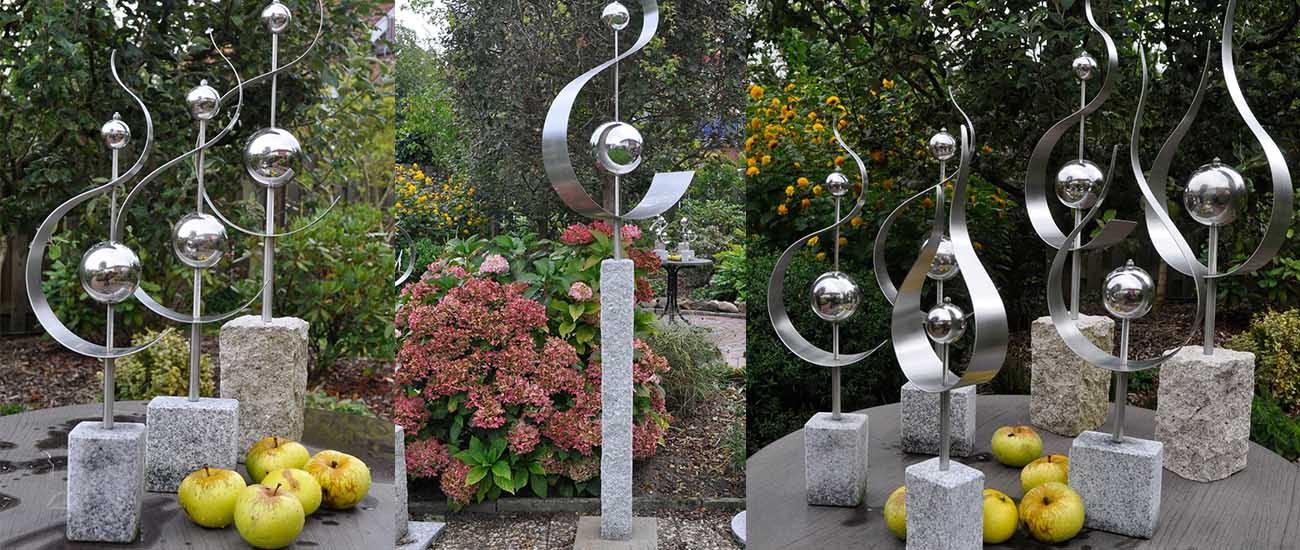 Garten-Kunst aus Edelstahl und Granit